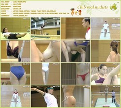 Gold Bird - Girl acrobat engaged naked workout in the gym