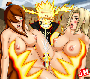 Naruto cumming while Mei and Tsunade sliding their pussies on his cock hentai